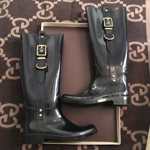 COACH gold black rain boots size 9